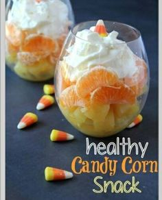 Such a cute idea for a healthy fall candy corn style snack. Also great for those areas where it doesn't quit feel like fall yet.