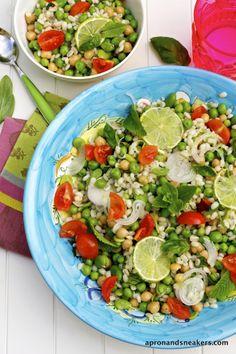 Barley Salad with Chickpeas, Fava Beans & Peas