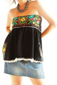Rumba Mexican embroidered convertible blouse~mini skirt
