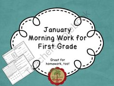 January Morning Work for First Grade from MrsJamesJungle on TeachersNotebook.com -  (19 pages)  - Morning work for first grade students. Four activities per day, Math and Language Arts.