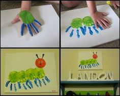 visual arts, handprint art, hand prints, hungry caterpillar, hand art, hand print crafts, eric carle, art projects, kid