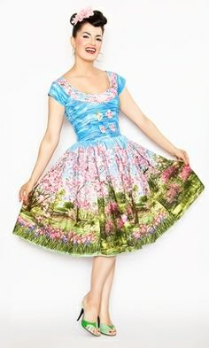 """SWAPPED. Bernie Dexter Fifi Cherry Tree Lane Dress size XL, EXTREMELY limited swap or sell for $152 + shipping. NWOT. Measurements (taken flat): 19.5"""" bust, 16"""" waist. Collar has the tulips and green stems, not cherry blossoms. Can provide a picture."""