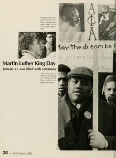 """Athena yearbook, 1986. """"The memory of Martin Luther King is remembered by this student in a parade on campus."""" :: Ohio University"""