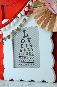 Free Valentine's Day Printables -- Love Is All You Need Eyechart Printable #DIY #Valentines #Printables