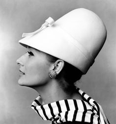 Tania Mallet in white hat with bow by John French.