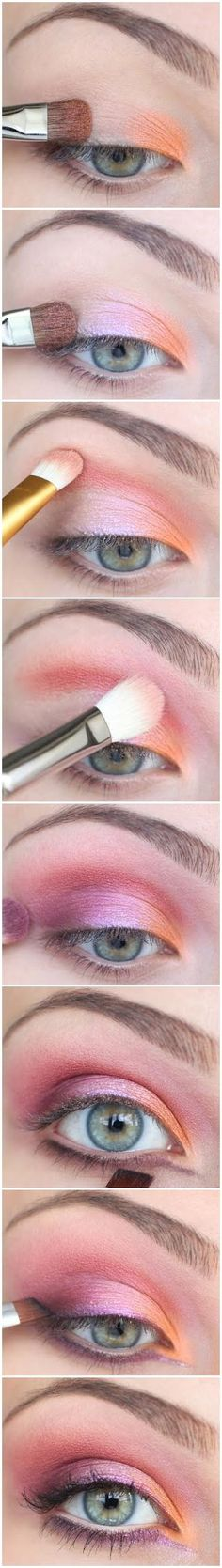 Shadow palette for green eyes - orange and pink