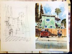 Iain Stewart Green House with Dumpster. Watercolor sketchbook, journal, urban sketches, travel diary.