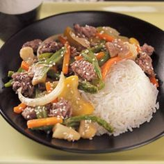 Hamburger Stir-Fry. JAMIE:  I fried the hamburger first.  While the meat was browning I cut up an onion, a pepper, 4 carrots & 2 celery stalks.  Once the meat is done, add all your vegetables. Add your stir-fry sauce (I make my own) and cook until vegetables are tender. Served over white rice. Delish!