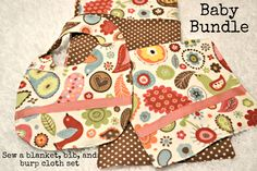 Baby Shower Gifts | Blanket, Burp Cloth, and Bib Bundle
