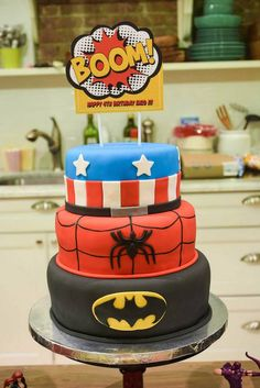 Superhero themed 4th birthday party via Kara's Party Ideas : The Cake