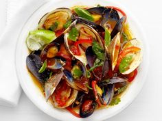 Clams and Mussels in Thai Curry Sauce from Food Network Magazine #Protein #Veggies #MyPlate