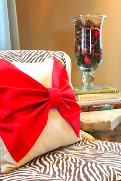 A red pillow with bow but not obnoxious like this one.
