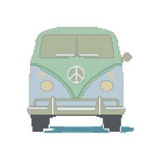 VW Bus Cross Stitch Pattern - Peace Cross Stitch PDF