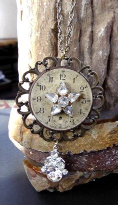 Handmade watchface necklace, repuposed, vintage jewelry, upcycled