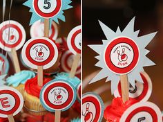 Bowling birthday party - printable cupcake toppers from Chickabug : )