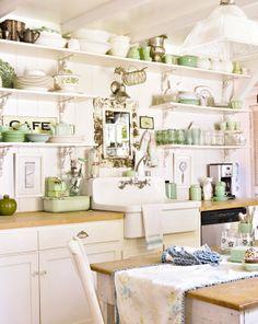 simple open shelves