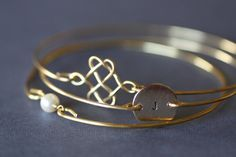 Celtic Knot , Single Pearl, Custom Initial Gold Bangle Bracelet Set of Three, Christmas Gift, Monogram Bangle