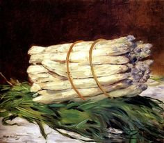 """""""A Bunch of Asparagus"""" 1880 painting by Edouard Manet (white asparagus)"""