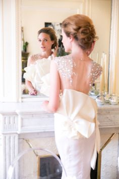 Couture bridal gown from Paolo Corona   One and Only Paris Photography   http://burnettsboards.com/2013/12/candlelit-parisian-elopement/