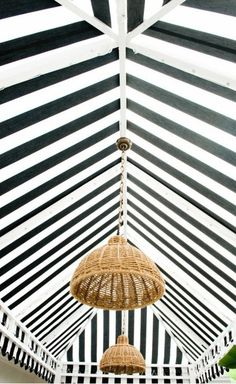 Striped ceiling.