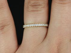 Thin Rose Gold French Pave Diamond Halfway Eternity Band