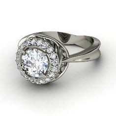 Chrysanthemum Ring, Round Diamond Platinum Ring from Gemvara