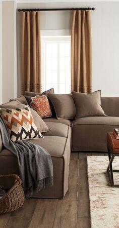 Massoud Carson Sectional #home #decor #living #room massoud carson, couch, color schemes, color boardspalett, colors, color pallettes, orange living room decor, color inspir, bedroom