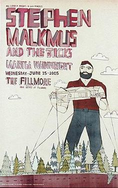 Original concert poster for Stephen Malkmus with Martha Wainwright at the Fillmore in San Francisco. 12x19 on card stock. Art by Grady McFerrin.