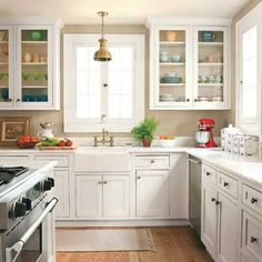 Love the open faced cabinets. glass doors, white kitchen, kitchen colors, cabinet doors, old houses, farmhouse sinks, white cabinets, kitchen remodel, kitchen cabinets