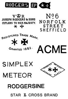 STRAZORS.com - all about classic razors - Joseph Rodgers & Sons, Sheffield's marks
