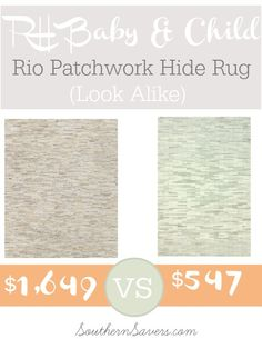 RH Baby & Child Rio Patchwork Hide Rug Look Alike - Southern Savers