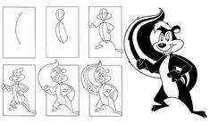 how to draw Pepe-Le-Pew