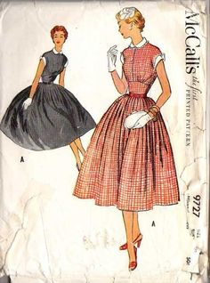 McCall's 9727; ©1954; Misses; Dress  Full skirt is pleated to the waistline; back is dart fitted, front has a wide fitted midriff section wh...