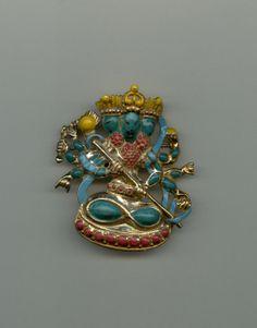 Very Unusual Hindu Style Enameled Brooch1960s by Jewelboy on Etsy, $45.00