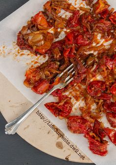 Balsamic Roasted Tomatoes with Onions  -- This looks like it would great with pasta.