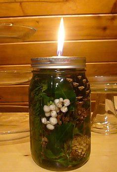 PERFECT HOLIDAY GIFT!  LONG BURNING OIL LAMPS!! These are incredibly fun to make and nice to gaze at. Imagine three in different sizes! ,  You can fill your lamp with all oil, or half water and half oil (a prettier solution). The wick can be any cotton or you can go purchase fiberglass wicks that you can use forever. Fiberglass wicks do not burn up like a typical candle wick, or other organic material. Beautiful