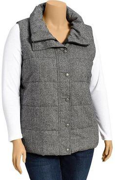 Plus Size Tweed Vest