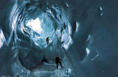 Spectacular ice caves photographed for the first time deep beneath a Swiss glacier