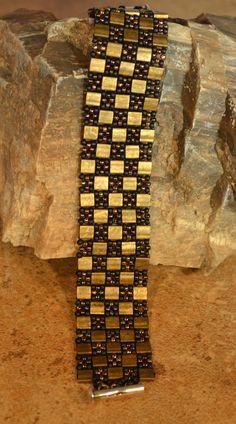 Hand Beaded Bronze Tila Bracelet by craftinghooker on Etsy, $30.00