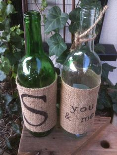 Monogrammed Burlap Wine Bottle Cover :: I *adore* this. Along with a good bottle of vino, quite possibly the perfect gift.