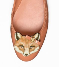 Leather Fox Ballet Flat Tory Burch