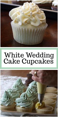 White Wedding Cake Cupcakes recipe from RecipeGirl.com #wedding #cupcakes #recipe #RecipeGirl