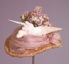 Hat 1898, British, Made of straw, chiffon, lace, and bird