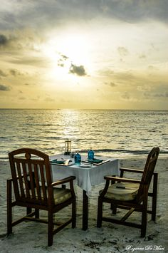 romant, chair, paradise, beachth place, table for two