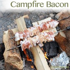 Campfire Bacon is seriously the best thing I have ever eaten! Like the way they weave it. Genius. For the Boys..