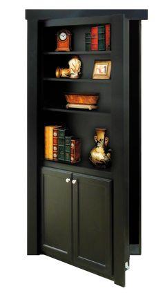 Flush Mount Bookcase Door in Black, starting at $995.00 Delivered