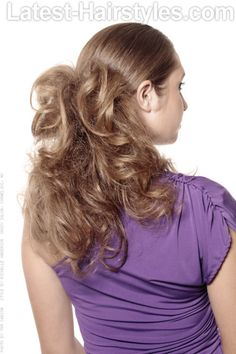 Edgy Half Updo with Large Waves and Curls Back View