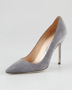 Manolo Blahnik BB Suede Pointed-Toe Pump, Gray [thebest1703] - $182.00 : Discounted Christian Louboutin,Jimmy Choo,Valentino Shoes Online store