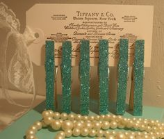 Tiffany Inspired clothespins. Very pretty.