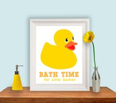 Rubber Duckie Print, Kids Bathroom, Rubber Duck, 8x10 print. Custom Colours, Etsykids Team